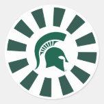 Logotipo espartano del casco del estado de pegatina redonda