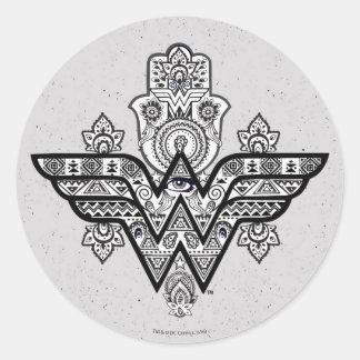 Logotipo espiritual de Paisley Hamsa de la Mujer Pegatina Redonda
