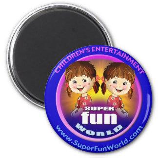 Logotipo estupendo del mundo de la diversión imán para frigorífico