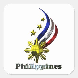 Logotipo filipino original. ¡Mabuhay Pilipinas! Pegatina Cuadrada