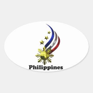 Logotipo filipino original. ¡Mabuhay Pilipinas! Pegatinas De Óval