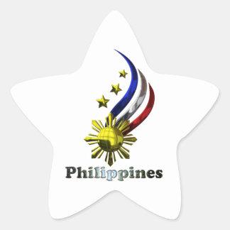 Logotipo filipino original. ¡Mabuhay Pilipinas! Pegatina En Forma De Estrella