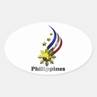 Logotipo filipino original. ¡Mabuhay Pilipinas! Pegatina Ovalada
