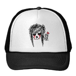 Logotipo flaco del esqueleto del chica de los hues gorras de camionero