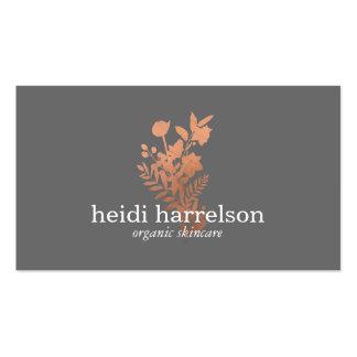 Logotipo floral del oro color de rosa en gris tarjetas de visita