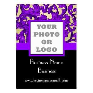 Logotipo floral púrpura de la foto del damasco tarjetas de visita grandes