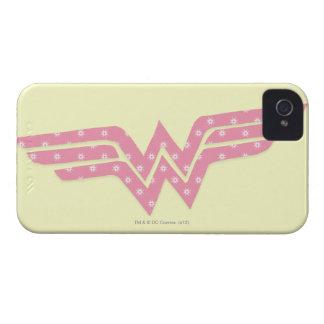 Logotipo floral rosado colorido de la Mujer Maravi iPhone 4 Case-Mate Fundas