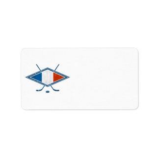 Logotipo francés de la bandera del hockey etiquetas de dirección