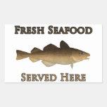 Logotipo fresco de los mariscos (bacalao rectangular altavoces
