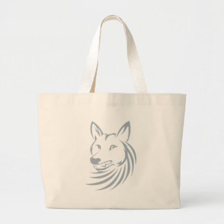 Logotipo fresco del coyote de la caza bolsa tela grande