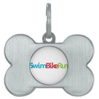 Logotipo fresco del Triathlon para todos los amant Placas De Nombre De Mascota