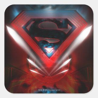 Logotipo futurista del superhombre pegatina cuadrada