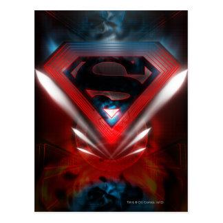 Logotipo futurista del superhombre postal