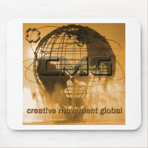 Logotipo global del globo del movimiento creativo alfombrillas de ratones