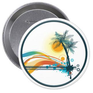 Logotipo gráfico de palmeras, de ondas y de Sun en