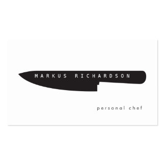 Logotipo grande del cuchillo del cocinero para el  plantillas de tarjeta de negocio