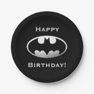 Logotipo granoso del símbolo el | de Batman Platos De Papel