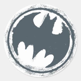 Logotipo gris del Grunge de Batman Pegatina Redonda