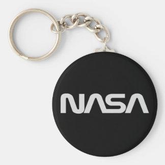 Logotipo gris del gusano de la NASA Llavero Redondo Tipo Pin
