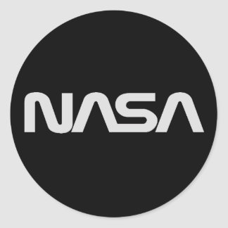 Logotipo gris del gusano de la NASA Etiquetas