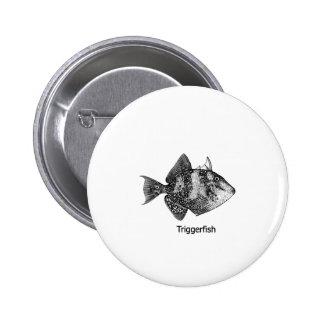 Logotipo gris del Triggerfish Pin Redondo De 2 Pulgadas