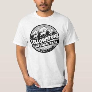 Logotipo gris negro de Wyoming del parque nacional Camisas