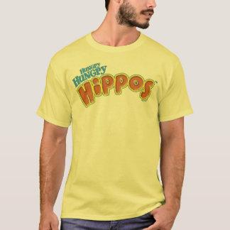 Logotipo hambriento hambriento de los hipopótamos playera