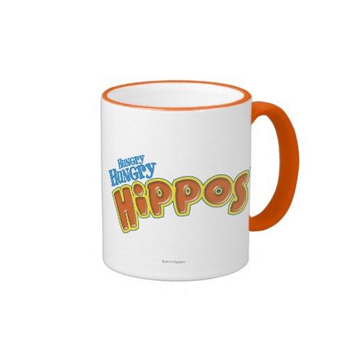 Logotipo hambriento hambriento de los hipopótamos taza