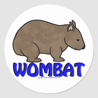 Logotipo III de Wombat Pegatina Redonda