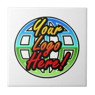 Logotipo impreso corporativo o promocional de azulejo cuadrado pequeño