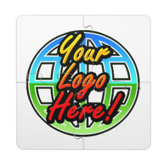 Logotipo impreso corporativo o promocional de posavasos de puzzle