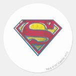 Logotipo impreso el   del S-Escudo del superhombre Pegatina Redonda