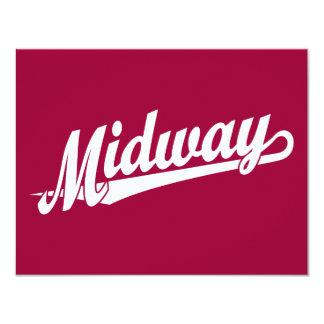 Logotipo intermediario de la escritura en blanco invitación 10,8 x 13,9 cm