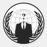 Logotipo internacional anónimo etiqueta redonda
