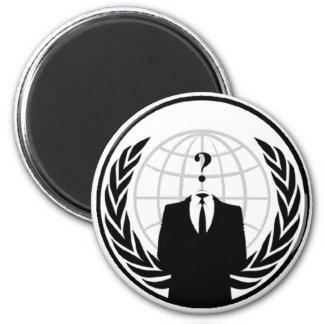 Logotipo internacional anónimo imán redondo 5 cm