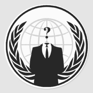 Logotipo internacional anónimo pegatina redonda