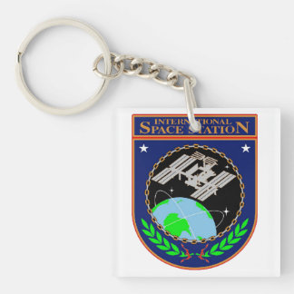 Logotipo internacional del programa de la estación llavero cuadrado acrílico a doble cara