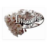 Logotipo interno de la flor de cerezo del ganchill tarjetas postales