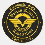 Logotipo - jinetes de Cincinnati Vulcan Etiqueta Redonda