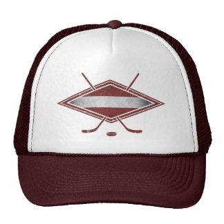 Logotipo letón de la bandera del hockey gorro