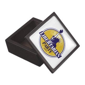 Logotipo libertario del fiesta caja de joyas de calidad
