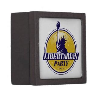Logotipo libertario del fiesta caja de recuerdo de calidad