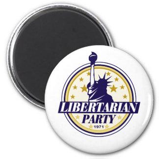logotipo libertario del fiesta imán redondo 5 cm