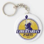 Logotipo libertario del fiesta llavero redondo tipo pin
