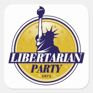 Logotipo libertario del fiesta pegatina cuadrada