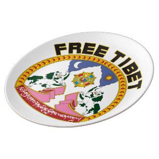 Logotipo libre de la bandera de Tíbet Platos De Cerámica
