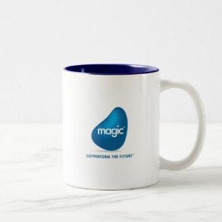 Logotipo mágico del software calificado productos taza dos tonos