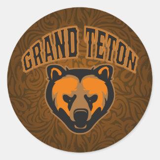 Logotipo magnífico de la cara del oso de Teton Pegatina Redonda