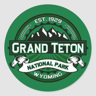 Logotipo magnífico del parque nacional de Teton Pegatina Redonda
