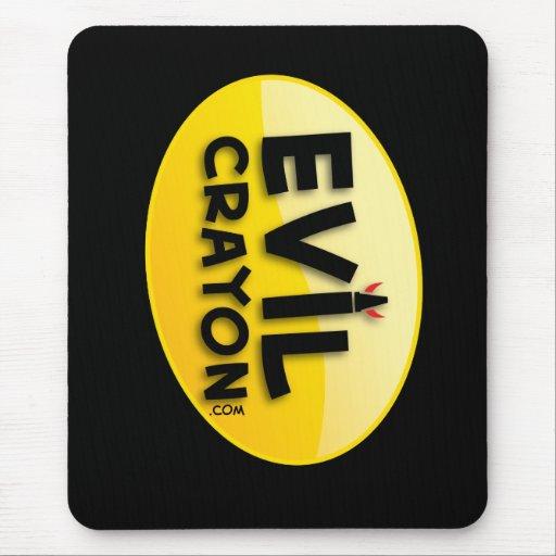 Logotipo malvado del creyón alfombrilla de ratón